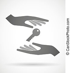 Hands protecting or giving a key