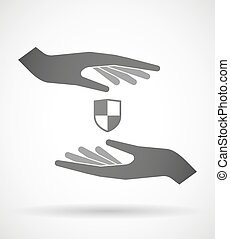 Hands protecting or giving a shield