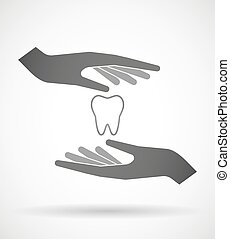 Hands protecting or giving a tooth