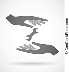 Hands protecting or giving a wrench