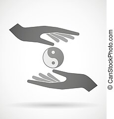 Hands protecting or giving a ying yang