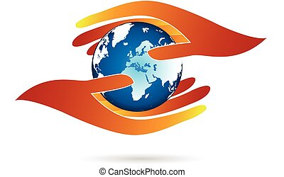 Hands protecting world logo