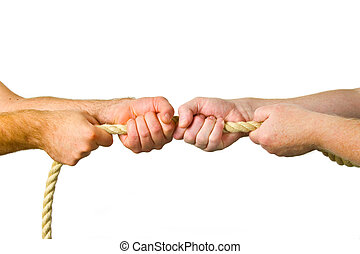 Hands pull a rope  -  isolated white background