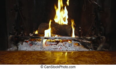 Hands putting mug fireplace warming winter holiday relaxing