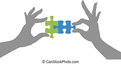Hands puzzle pieces together solution