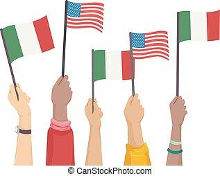 Hands Raise Flag Columbus Day Illustration