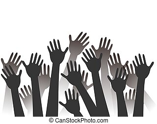 hands raised background - black hands raised silhouettes ...