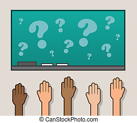 Hands Raised Chalkboard - Hand raised in classroom with...