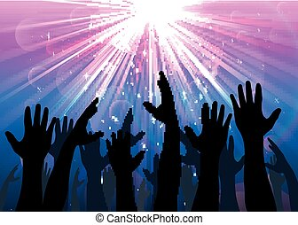 Illustration of hands raised from the people with light colourful