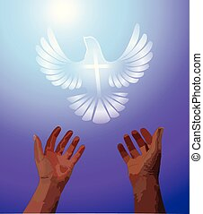 Hands Raised in Praise with a White Dove Flying Above