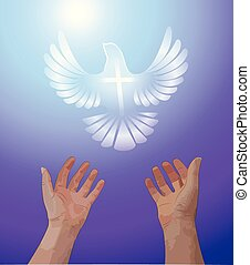 Vector illustration of hands reaching up in prayer, a symbolized white dove with a cross is flying above in a purple and blue sky.
