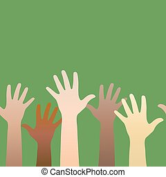 Hands raised up. Concept of volunteerism, multi-ethnicity, equal