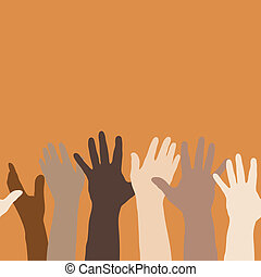Hands raised - Vector illustration of hands raised up, to ...