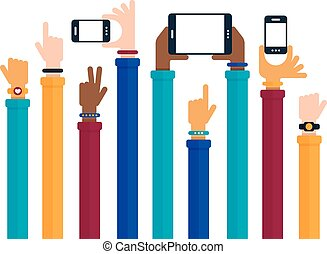 Hands Raised with Mobile Devices - Flat design with hands ...