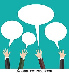 Hands raised with speech bubble. vector illustration in flat...