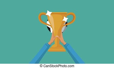 Hands raising trophy cup HD animation