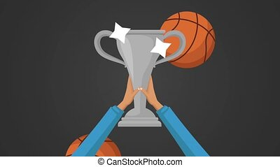 Hands raising trophy cup HD animation - Hands raising silver...