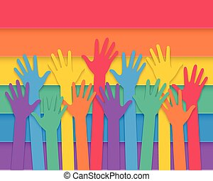 hands raising with pride flag - colorful hands raising up...