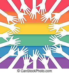 hands raising with pride flag