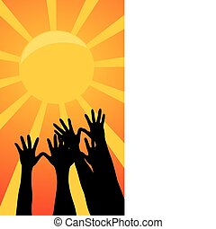 Hands reach for the sun. A vector illustration