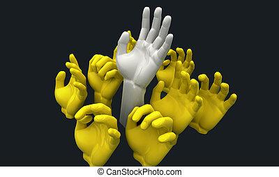 Hands Reaching - A group of 3D yellow hands reaching skyward...