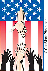 Illustration of several hands reaching up for help while another hand is reaching down through an American Flag to offer help from the United States Government.