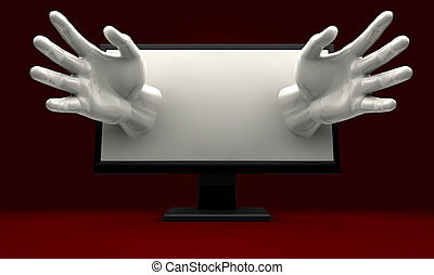 A pair of hands reaching out from a lcd computer monitor encroaching on the user