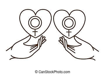 hands receiving heart with symbol of man and woman