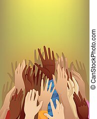 Hands Refugee - Illustration of a Crowd of Refugees with...
