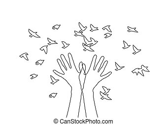 Hands releasing a flock of birds.