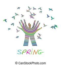 Hands releasing a flock of birds. Spring.