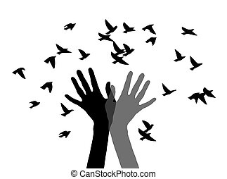 Hands releasing birds. Silhouette of two hands and the birds.