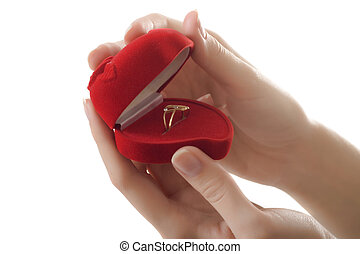 hands ring red heart love