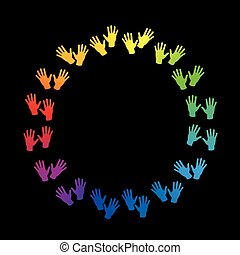 Hands Round Frame Rainbow Colored Circle