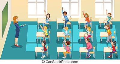 hands., sala aula, educação, aprendizagem, grupo, pessoas, -, conceito, elementar, crianças, sentando, escola, levantamento, professor, escola