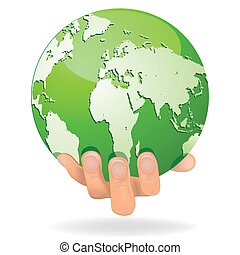 Hands Save The Earth Conceptual. ve