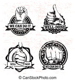 hands seals over withe background vector illustration