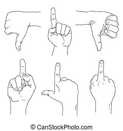 Hands set outline. Rude gestures, fuck you, thumbs down, forefinger up. EPS10
