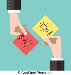 Hands sharing ideas - Two hands sharing notes with ideas. ...