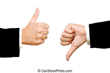 hands showing thumb up and thumb down