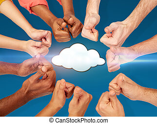 hands showing thumbs up over cloud icon