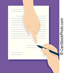 Hands Sign Contract Illustration