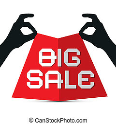 Hands Silhouette holding Red Paper with Big Sale Title