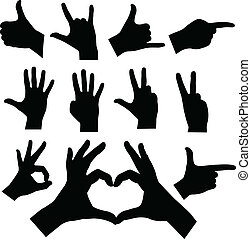 hands silhouettes - vector