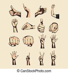 hands simbols over pink background vector illustration