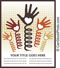 Hands spring into action design with space for text.