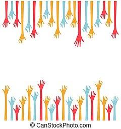 hands stand up background vector illustraction design