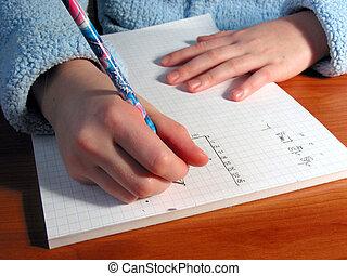 Hands student write