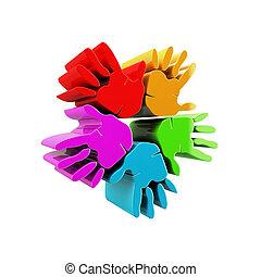 Hands success colorful 3D logo