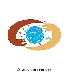 Hands support the globe surrounded by colorful birds. Symbol of peace. Hands with earth, people of the world holding the globe, flat vector sticker, poster, etc